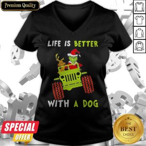 Jeep Grinch Life Is Better With A Dog V-neck