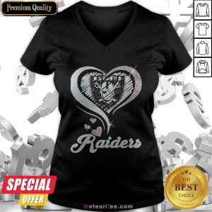 Love Oklahoma Raiders Logo Hearts Diamond V-neck