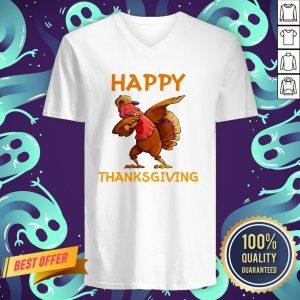 Nice Turkey Happy Thanksgiving Day V-neck