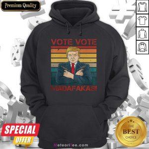 Nice Vote Vote Madafakas President Trump USA Vintage Pew Pew Cat Hoodie- Design by Meteoritee.com