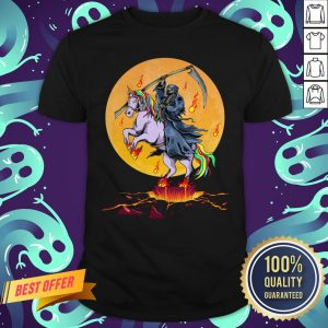 Official Grim Reaper With Unicorn Under The Moon Halloween Costume Shirt