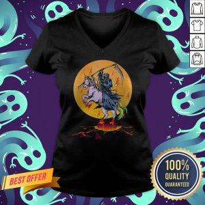 Official Grim Reaper With Unicorn Under The Moon Halloween Costume V-neck