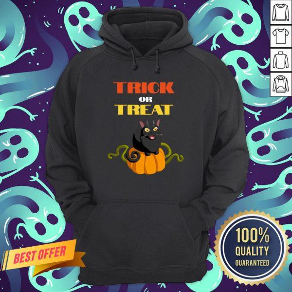 Trick Or Treat Funny Pumpkin Cat Halloween Hoodie
