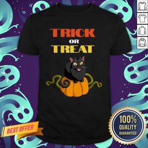 Trick Or Treat Funny Pumpkin Cat Halloween Shirt