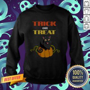 Trick Or Treat Funny Pumpkin Cat Halloween Sweatshirt