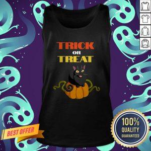 Trick Or Treat Funny Pumpkin Cat Halloween Tank Top