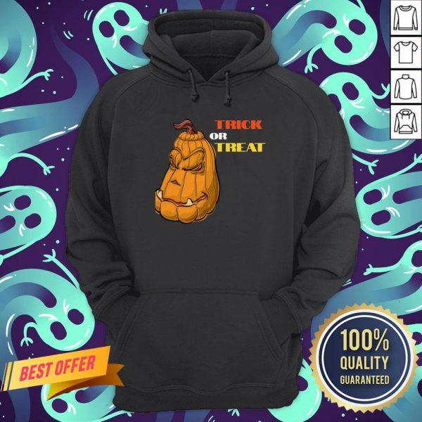 Trick Or Treat Mean Pumpkin Face Halloween Hoodie