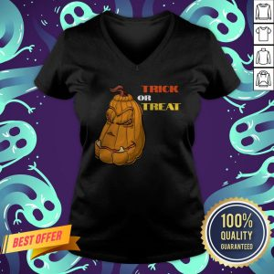 Trick Or Treat Mean Pumpkin Face Halloween V-neck