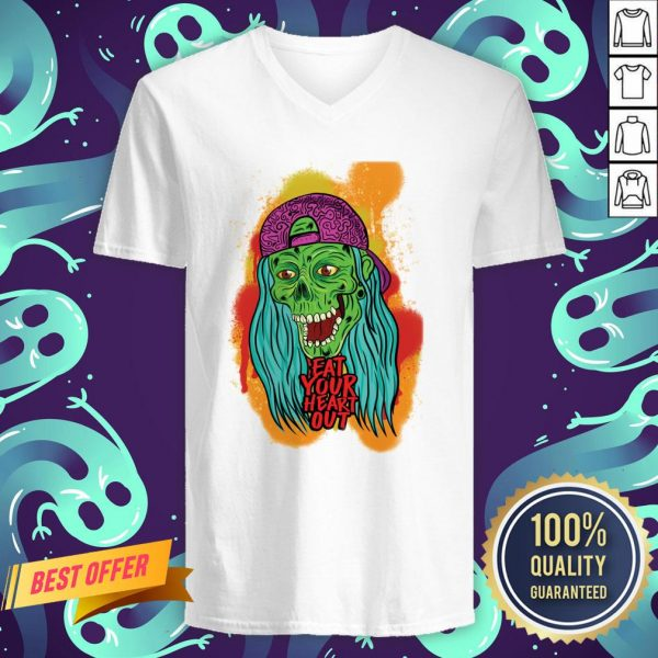 Zombie Chick Eat Your Heart Out Dia De Los Muertos Day Dead V-neck