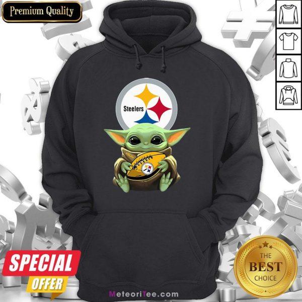 Awesome Baby Yoda Steelers Hug Rugby Hoodie