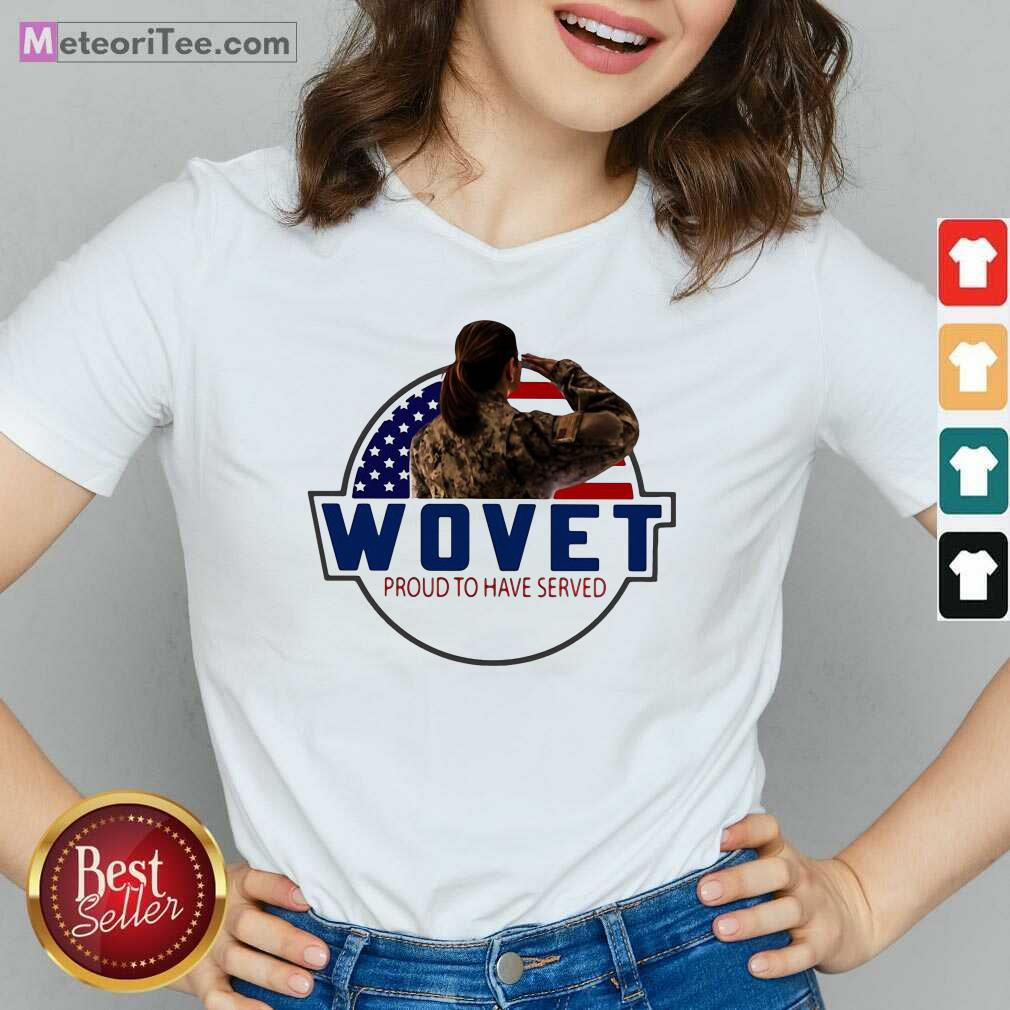 American Flag Wovet Proud To Have Served V-neck - Design By Meteoritee.com