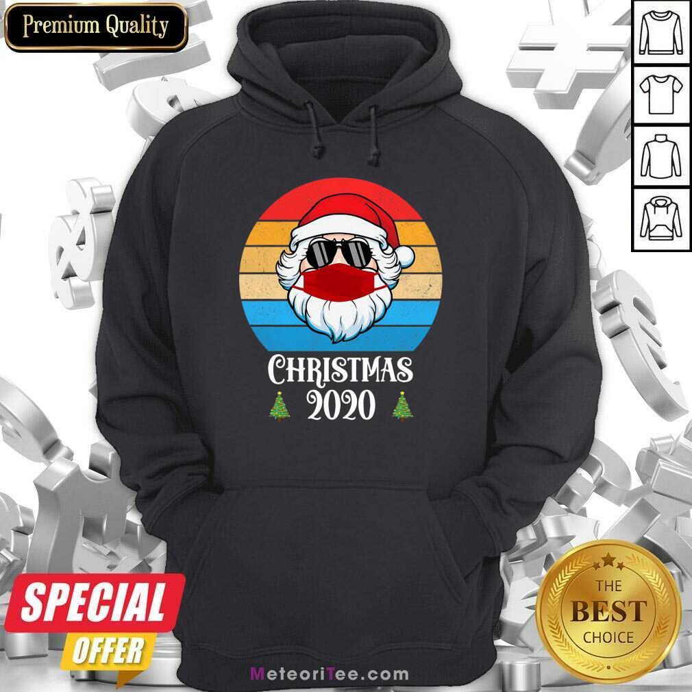 Nice Christmas 2020 Santa Wear Mask With Face Sunglasses Vintage Hoodie