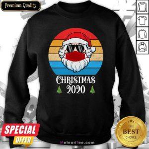 Nice Christmas 2020 Santa Wear Mask With Face Sunglasses Vintage Sweatshirt