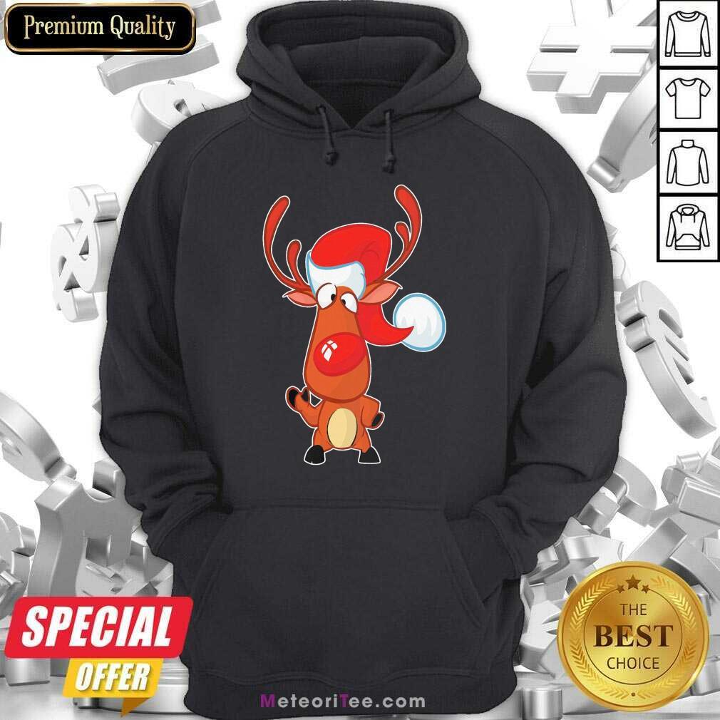 Nice Reindeer Hat Santa happy Christmas Hoodie