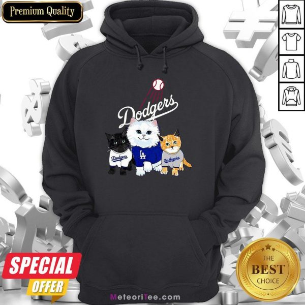 Nice Three Cat Black White And Yellow Los Angeles Dodgers Hoodie