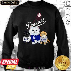 Nice Three Cat Black White And Yellow Los Angeles Dodgers Sweatshirt