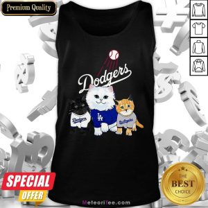 Nice Three Cat Black White And Yellow Los Angeles Dodgers Tank Top