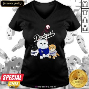 Nice Three Cat Black White And Yellow Los Angeles Dodgers V-neck