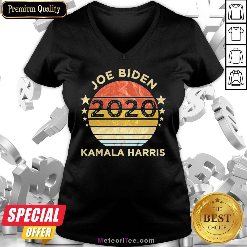 We Did It Joe Biden Kamala Harris Election 2020 46 President Vintage Retro V-neck