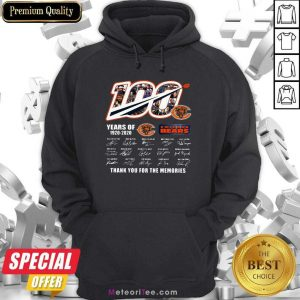 100 Years Of 1920-2020 Chicago Bears Thank For The Memories Signatures Hoodie - Design By Meteoritee.com