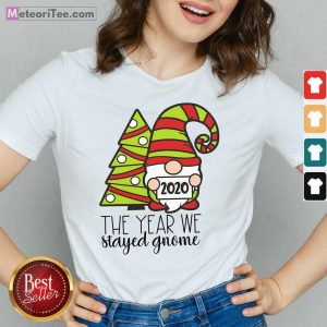 2020 The Year We Stayed Gnome Tree Christmas V-neck - Design By Meteoritee.com