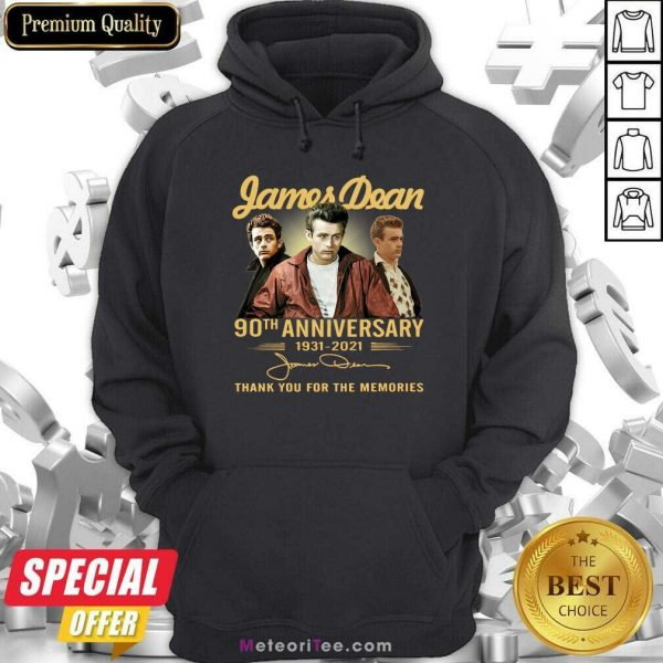 James Dean 90th Anniversary 1931 2021 Thank You For The Memories Signature Hoodie- Design By Meteoritee.com