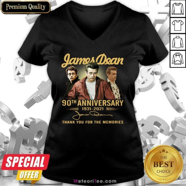 James Dean 90th Anniversary 1931 2021 Thank You For The Memories Signature V-neck - Design By Meteoritee.com