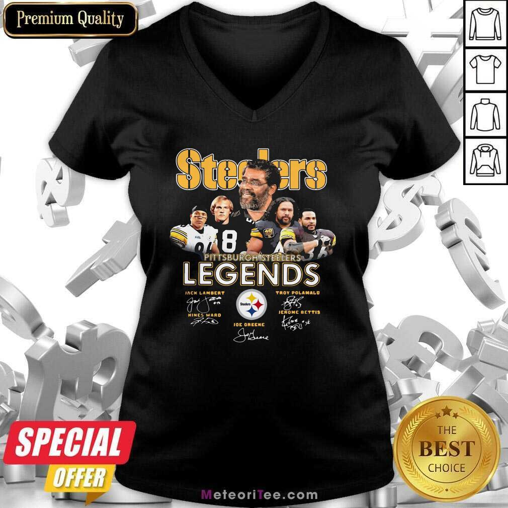 Steelers Pittsburgh Steelers Legends Signatures V-neck - Design By Meteoritee.com