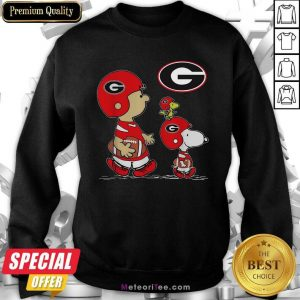The Peanuts Charlie Brown And Snoopy Woodstock Georgia Bulldogs Football Sweatshirt- Design By Meteoritee.com