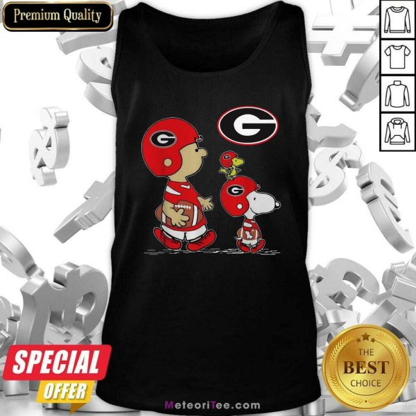 The Peanuts Charlie Brown And Snoopy Woodstock Georgia Bulldogs Football Tank Top- Design By Meteoritee.com