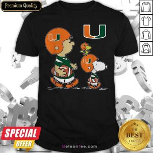 The Peanuts Charlie Brown And Snoopy Woodstock Miami Hurricanes Football Shirt - Design By Meteoritee.com