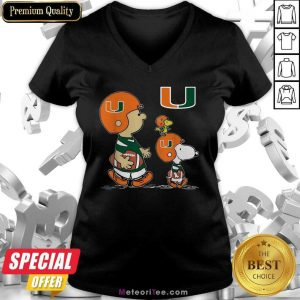 The Peanuts Charlie Brown And Snoopy Woodstock Miami Hurricanes Football V-neck - Design By Meteoritee.com
