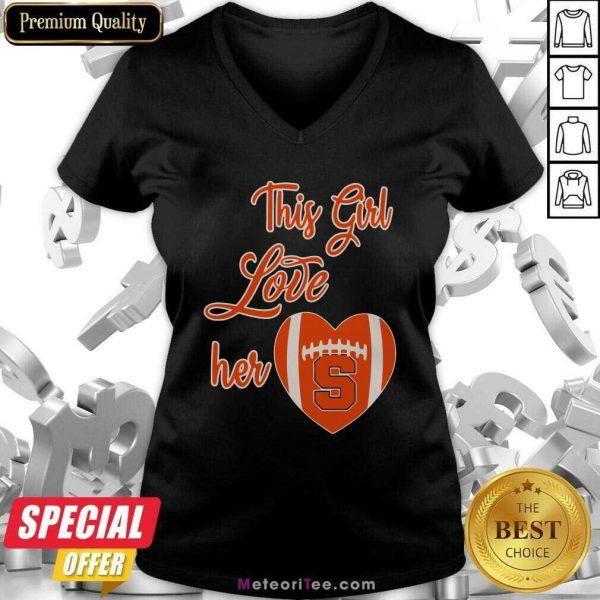 This Girl Love Hear Heart Syracuse Orange Football V-neck- Design By Meteoritee.com