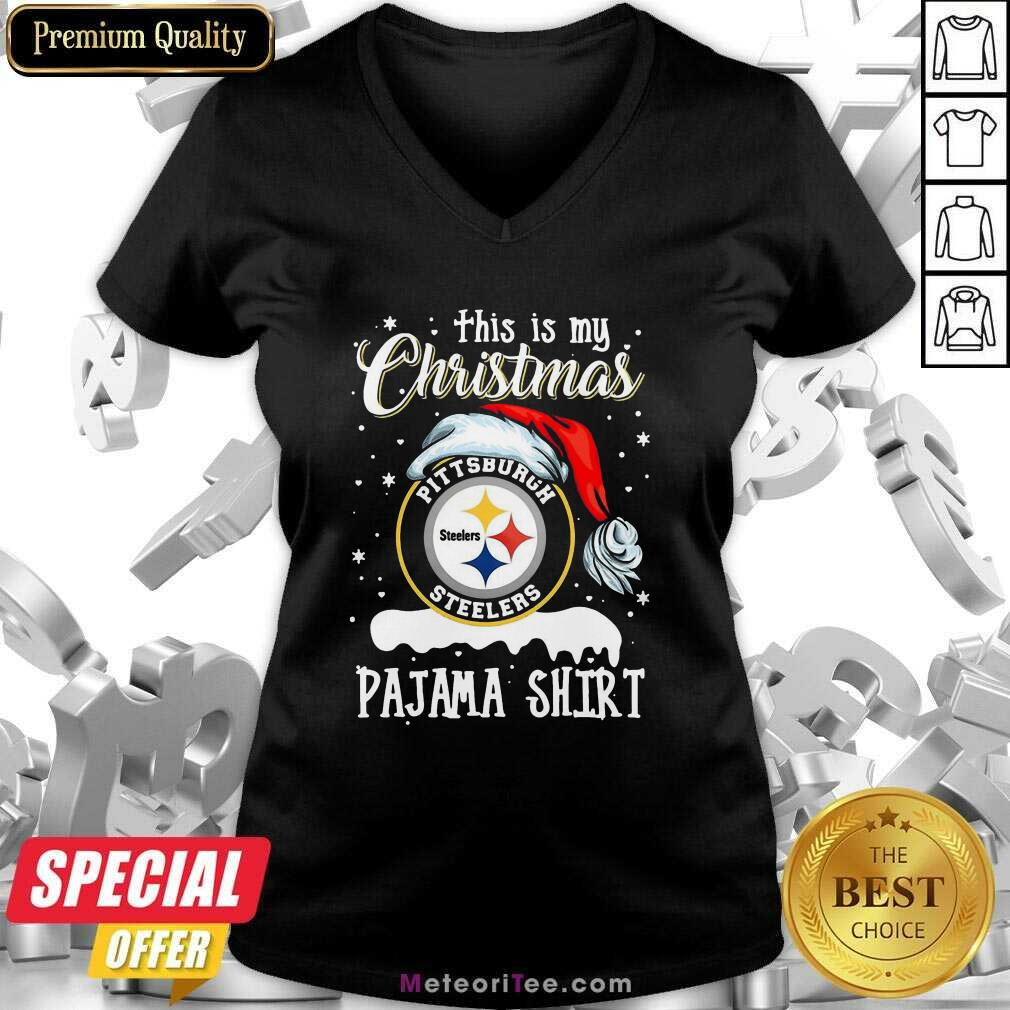 This Is My Christmas Pittsburgh Steelers Pajama V-neck - Design By Meteoritee.com