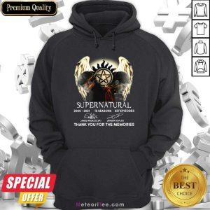 Supernatural 15 Seasons 327 Episodes Thank You For The Memories Signatures Hoodie - Design By Meteoritee.com