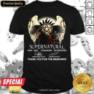 Supernatural 15 Seasons 327 Episodes Thank You For The Memories Signatures Shirt - Design By Meteoritee.com