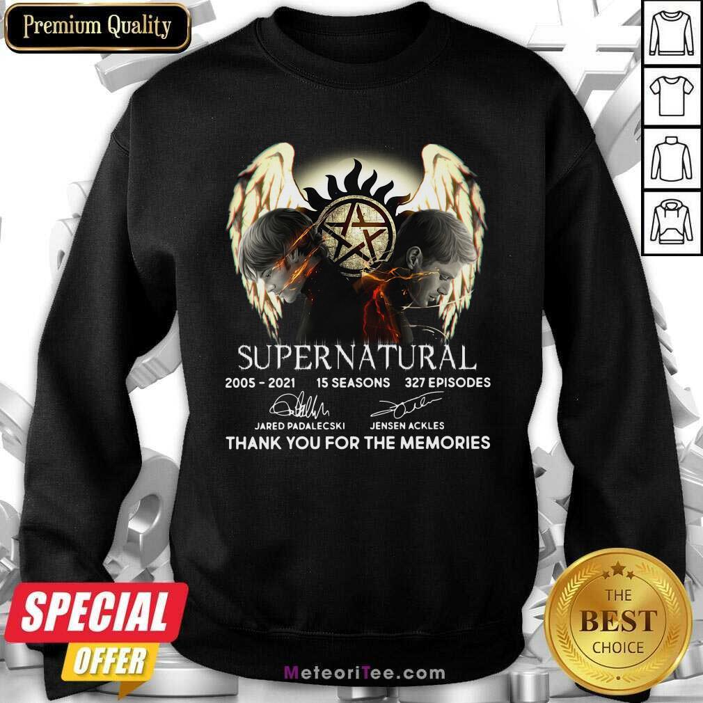 Supernatural 15 Seasons 327 Episodes Thank You For The Memories Signatures Sweatshirt - Design By Meteoritee.com