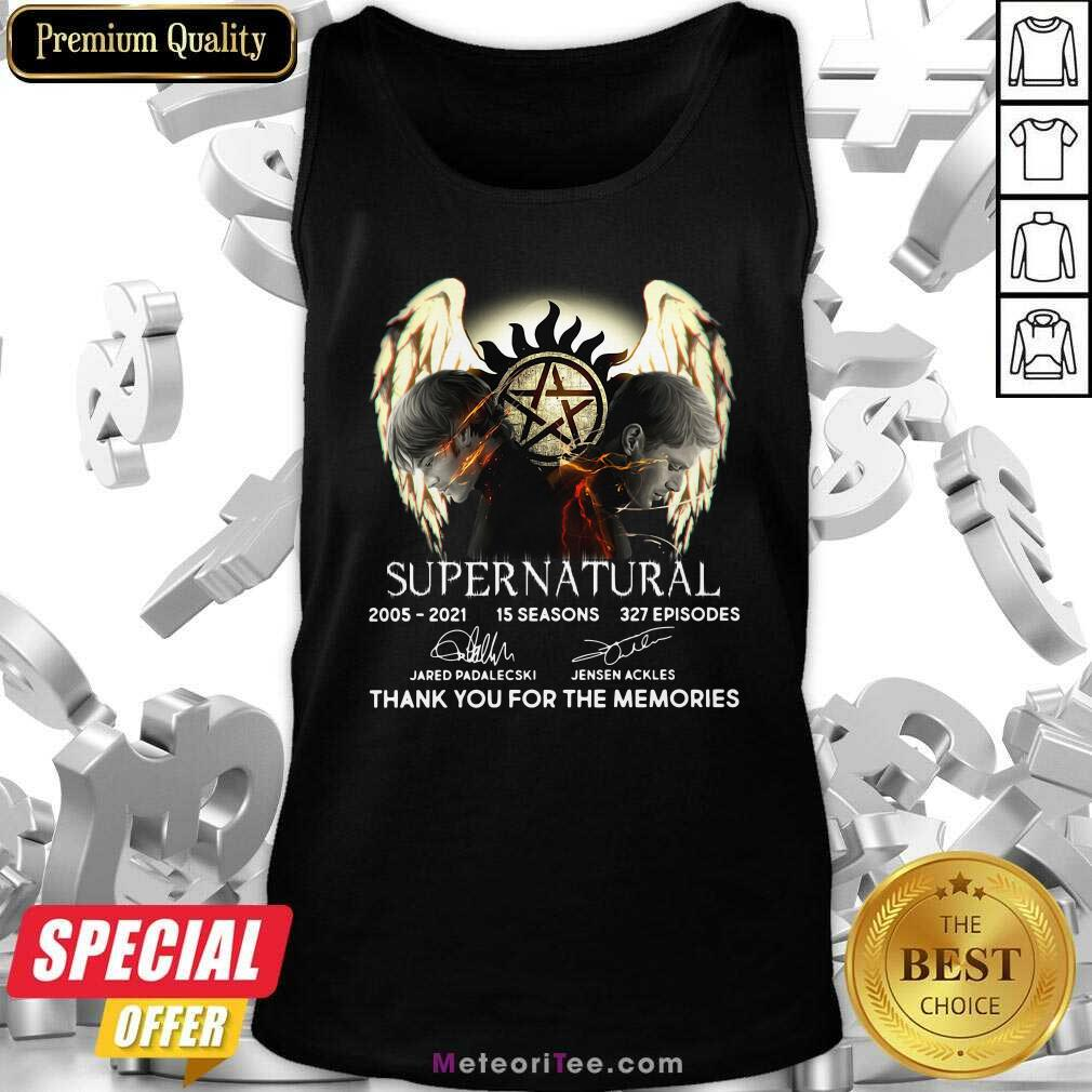 Supernatural 15 Seasons 327 Episodes Thank You For The Memories Signatures Tank Top - Design By Meteoritee.com