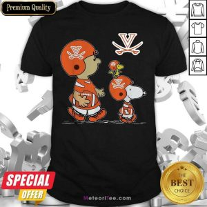 The Peanuts Charlie Brown And Snoopy Woodstock Virginia Cavaliers Football Shirt- Design By Meteoritee.com