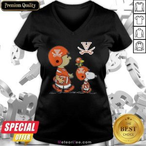 The Peanuts Charlie Brown And Snoopy Woodstock Virginia Cavaliers Football V-neck - Design By Meteoritee.com