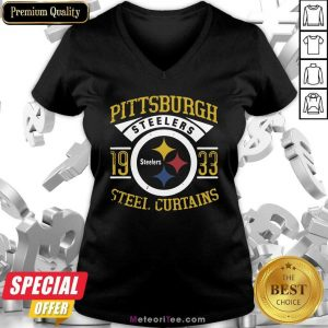 Pittsburgh Steelers 1933 Steel Curtains V-neck- Design By Meteoritee.com