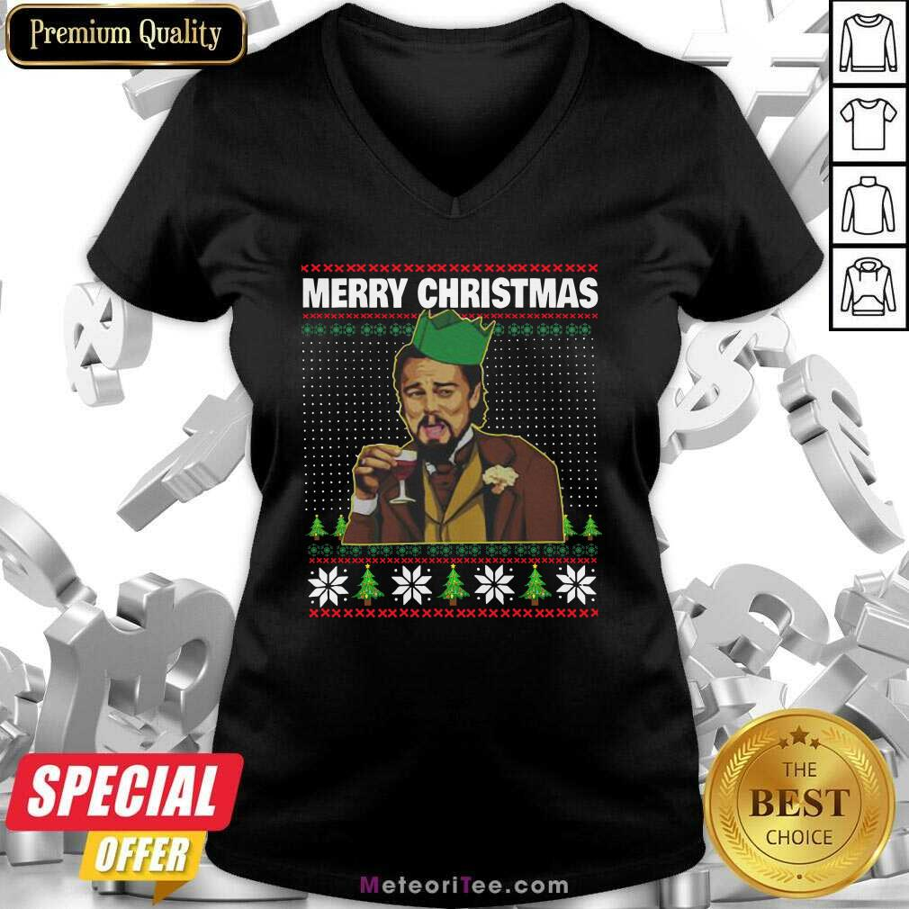 Leo Laughing Dank Meme Ugly Merry Christmas V-neck - Design By Meteoritee.com