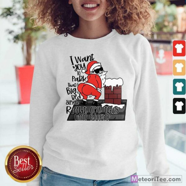 Santa Claus I Want You To Park That Big Red And Light Right On This Rooftop Christmas Sweatshirt - Design By Meteoritee.com