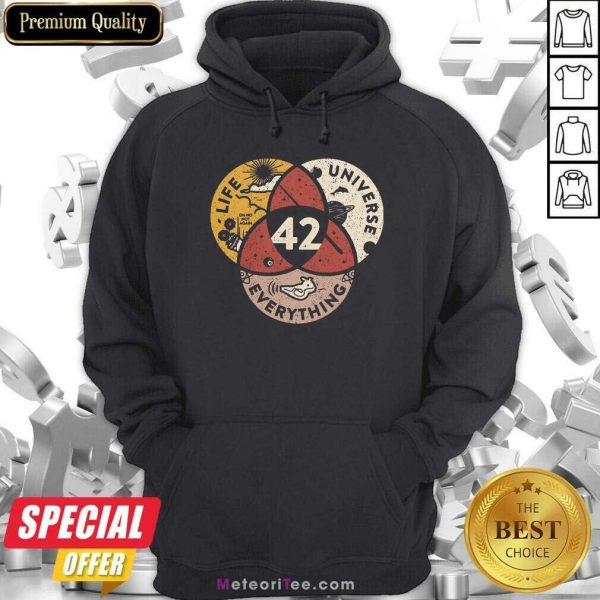 42 The Answer To Life Universe And Everything Hoodie- Design By Meteoritee.com