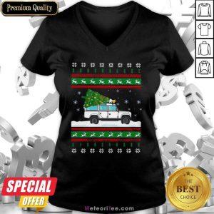 Defender Christmas Tree Ugly V-neck - Design By Meteoritee.com