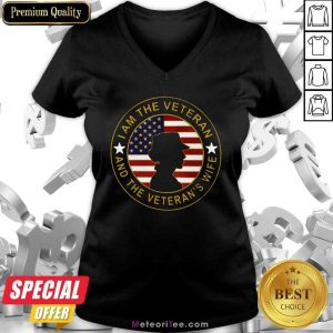 I Am The Veteran And The Veteran's Wife American Flag V-neck- Design By Meteoritee.com