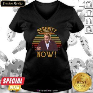 Jerry Stiller Serenity Now Vintage Sunset V-neck- Design By Meteoritee.com