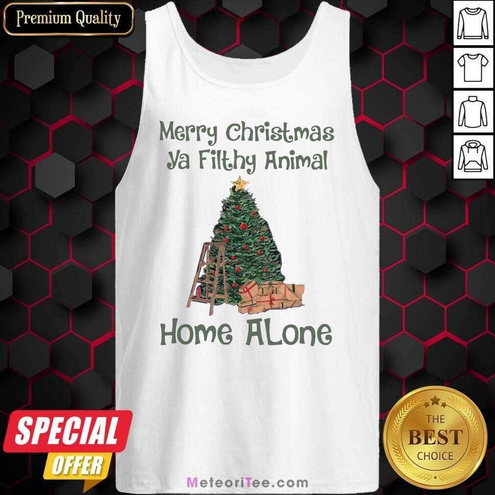Merry Christmas Ya Filthy Animal Home Alone Christmas Tree Tank Top - Design By Meteoritee.com