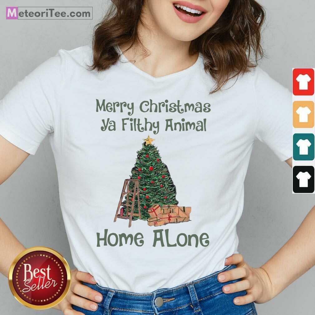 Merry Christmas Ya Filthy Animal Home Alone Christmas Tree V-neck- Design By Meteoritee.com