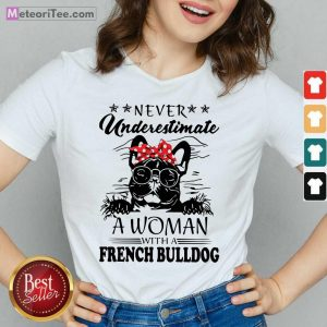 Never Underestimate A Woman With A French Bulldog Mom V-neck- Design By Meteoritee.com